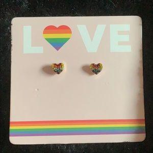 Pride rainbow rhinestone post earrings
